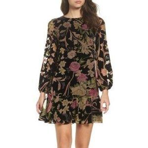 Eliza J Floral Print Velvet Shift Dress Size 6P